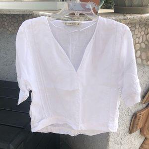 White Linen Blouse by Zara